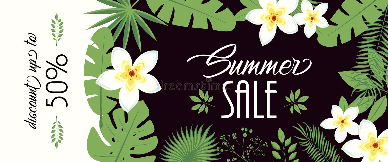 Sprzedaż sztandar, plakat z palmowymi liśćmi, dżungla liść i handwriting literowanie, Kwiecisty tropikalny lata tło wektor royalty ilustracja