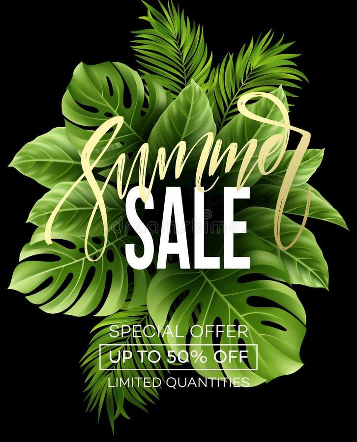 Sprzedaż sztandar, plakat z palmowymi liśćmi, dżungla liść i handwriting literowanie, Kwiecisty tropikalny lata tło wektor ilustracji