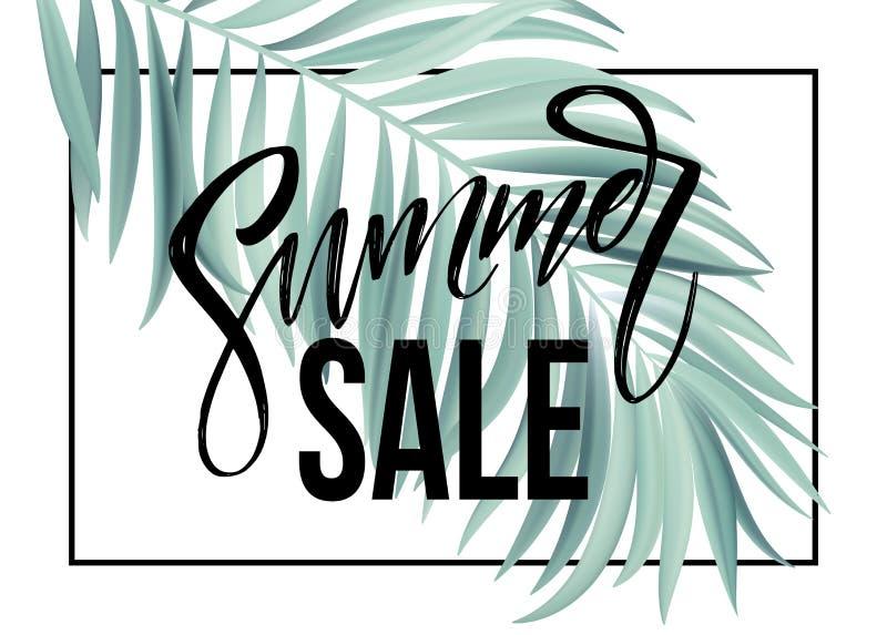 Sprzedaż sztandar, plakat z palmowymi liśćmi, dżungla liść i handwriting literowanie, Kwiecisty tropikalny lata tło wektor ilustracja wektor