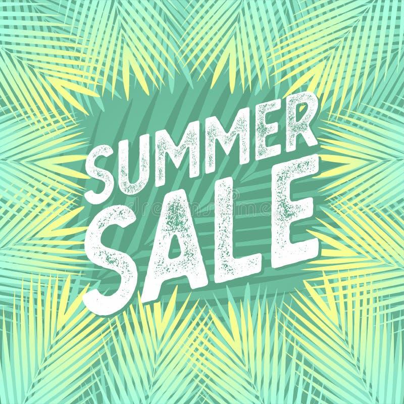 Sprzedaż sztandar z palmowymi liśćmi, dżungla liściem i handwriting literowaniem, Kwiecisty tropikalny lata tło ilustracji
