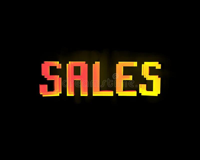 Sprzedaż sztandar z techno skutkiem w żółtym i czerwonym kolorze zdjęcia royalty free