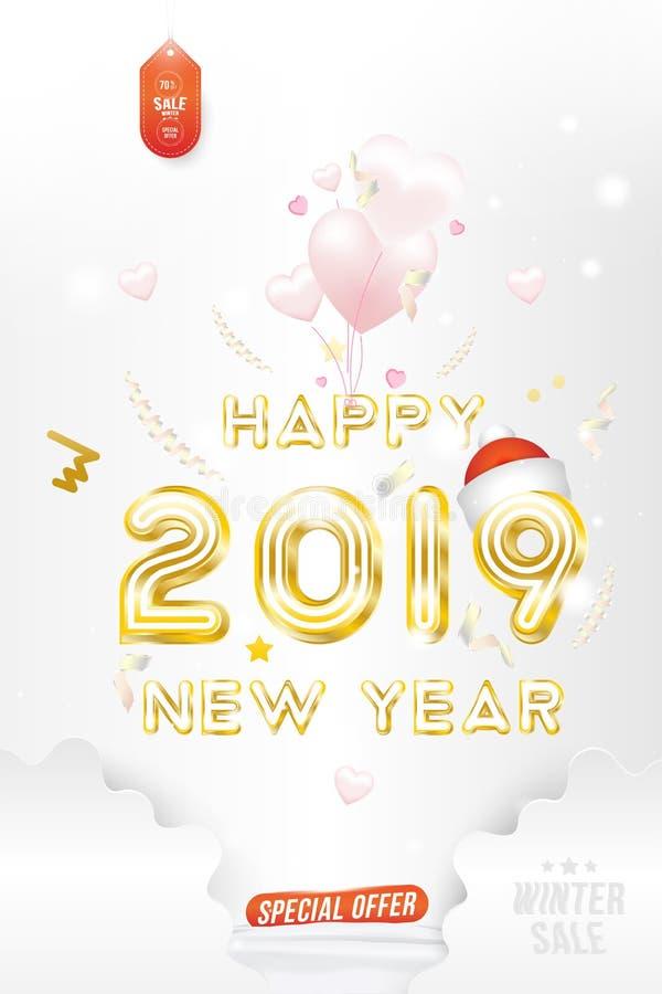 Sprzedaż sztandaru Szczęśliwy nowy rok 2019 z oryginalną złocistą olśniewającą chrzcielnicą i super oferty 70 pocztówką z balonam ilustracja wektor