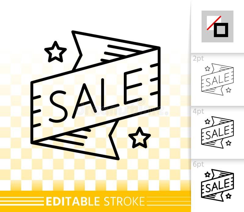 Sprzedaż targowego sztandaru czerni linii wektoru prosta ikona ilustracja wektor