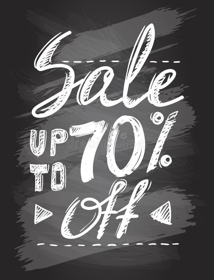 Sprzedaż up to 70 procentów, chalkboard ręka rysujący kaligraficzny plakat royalty ilustracja