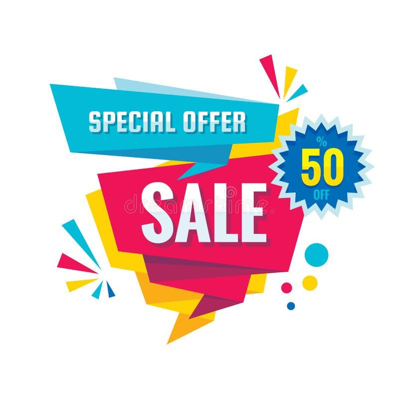 Sprzedaż - wektorowa kreatywnie sztandar ilustracja Abstrakcjonistycznego pojęcie rabata promocyjny układ na białym tle Specjalne ilustracji