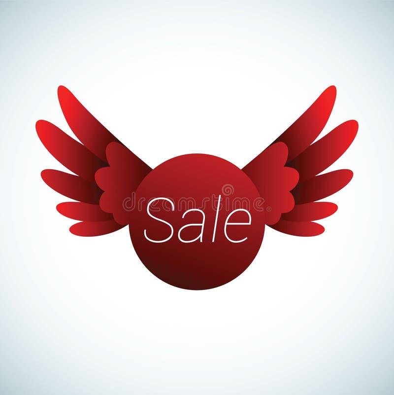 Sprzedaż znak z czerwonymi skrzydłami ilustracja wektor