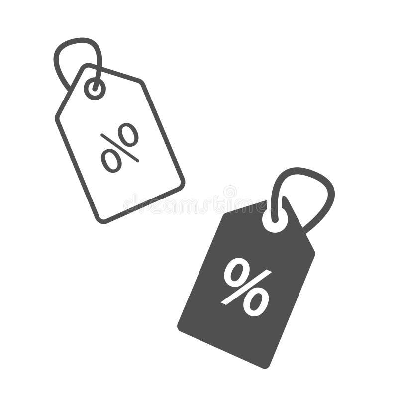 Sprzedaże i ceny czarny i biały ikona Czarna cena rabata etykietka na białym tle Czarna kontur sprzedaży etykietka ilustracja wektor