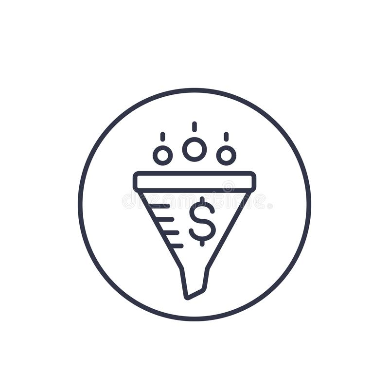 Sprzedaże leją, cyfrowa marketingowa liniowa ikona royalty ilustracja