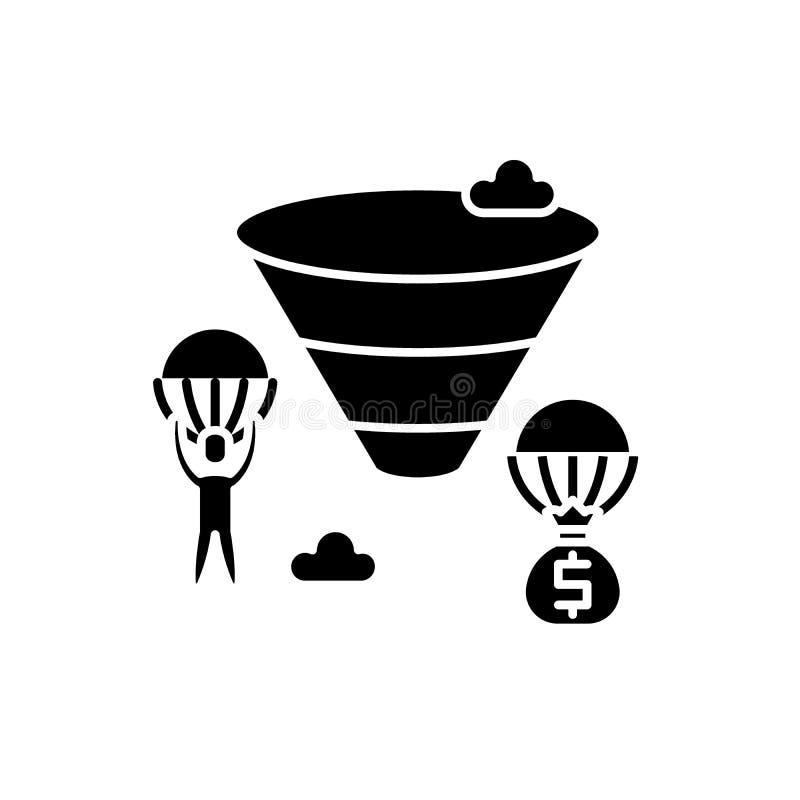 Sprzedaże leją czarną ikonę, wektoru znak na odosobnionym tle Sprzedaże leją pojęcie symbol, ilustracja royalty ilustracja