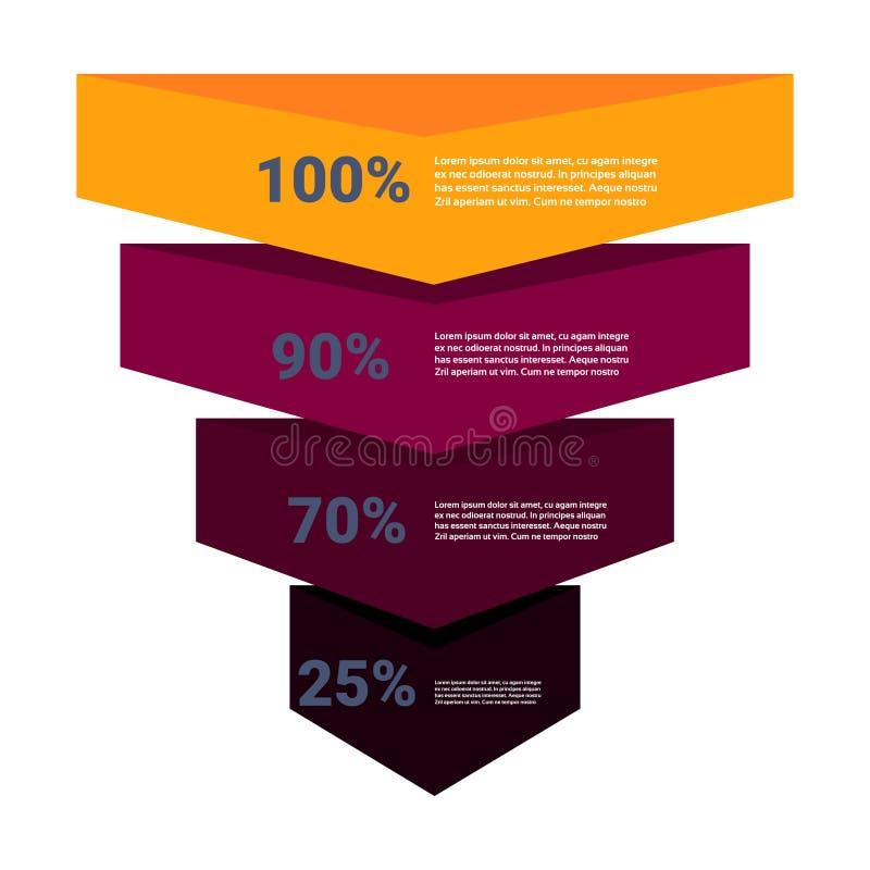 Sprzedaże leją z krok scen biznesem infographic zakupu diagrama pojęcie nad białym tło kopii przestrzeni mieszkaniem ilustracja wektor