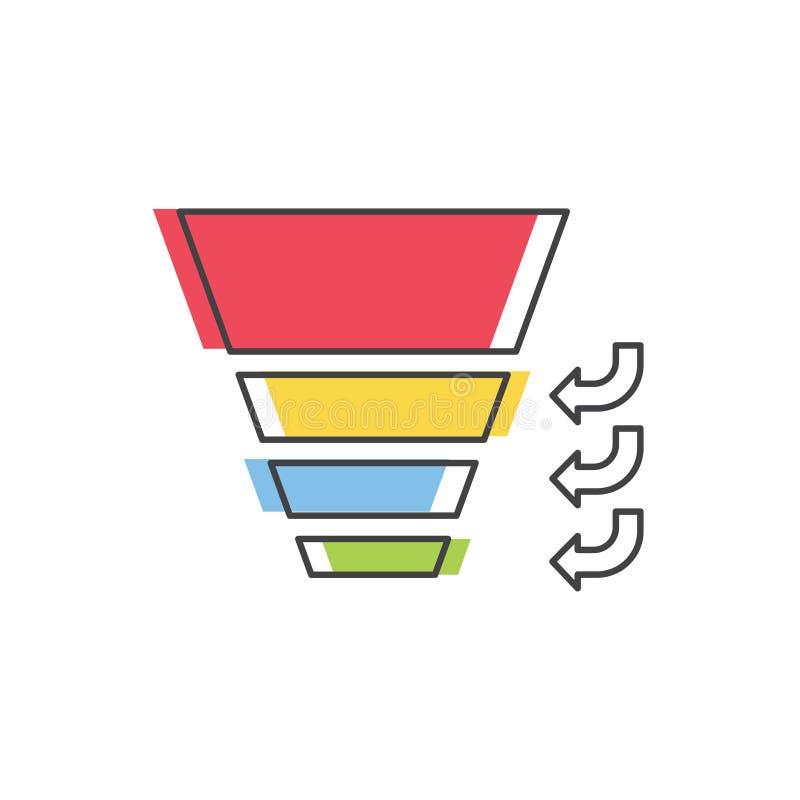 Sprzedaże Leją z scenami sprzedaż proces Wektor odizolowywająca kreskowa ikona Internetowy marketingowy pojęcie royalty ilustracja