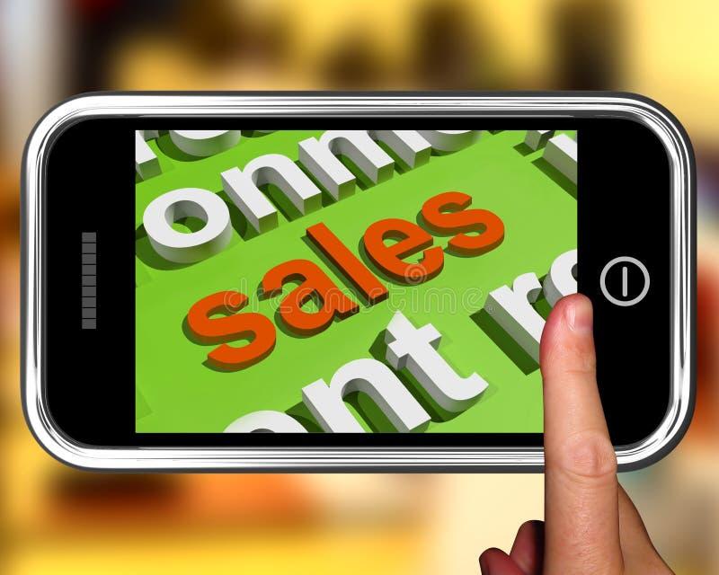 Sprzedaże W słowo chmury telefonie Pokazują promocje I Rozdają ilustracja wektor