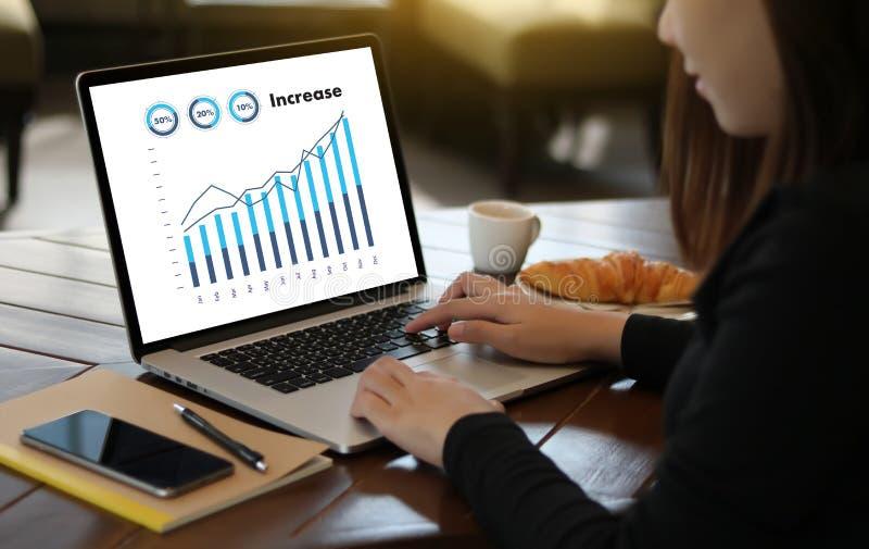 Sprzedaże Wiele map i wykresów biznesu wzrosta dochodu części Co zdjęcia royalty free