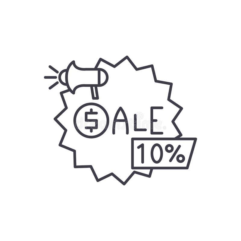 Sprzedaże wykładają ikony pojęcie Sprzedaży wektorowa liniowa ilustracja, symbol, znak ilustracja wektor