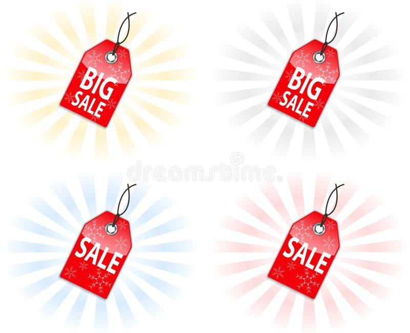 Sprzedaży bożenarodzeniowe etykietki ilustracja wektor