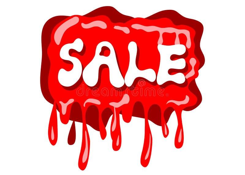 Sprzedaży czerwieni znak z kropli wody grafiki stylem na białym colour royalty ilustracja