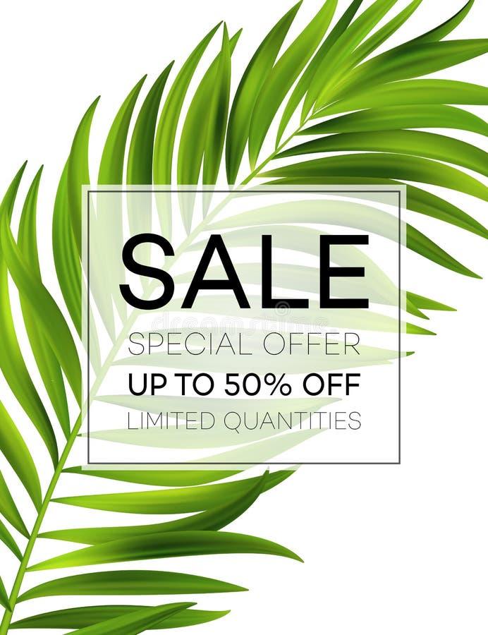 Sprzedaży dżungla i leaf Kwiecisty tropikalny lata tło również zwrócić corel ilustracji wektora ilustracji