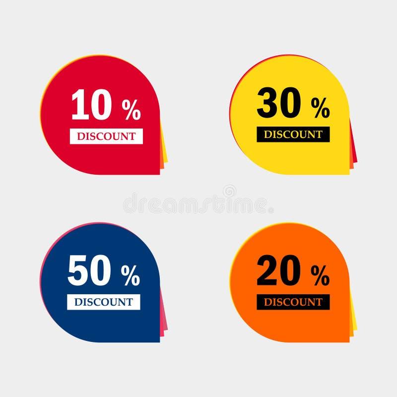 Sprzedaży dyskontowe ikony Specjalnej oferty ceny znaki 10, 20, 30 i 50 procentów z redukcyjnych symboli/lów, royalty ilustracja