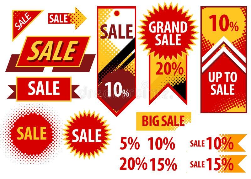 Sprzedaży etykietek czerwonej etykietki zakupy poremanentowa grafika ilustracji