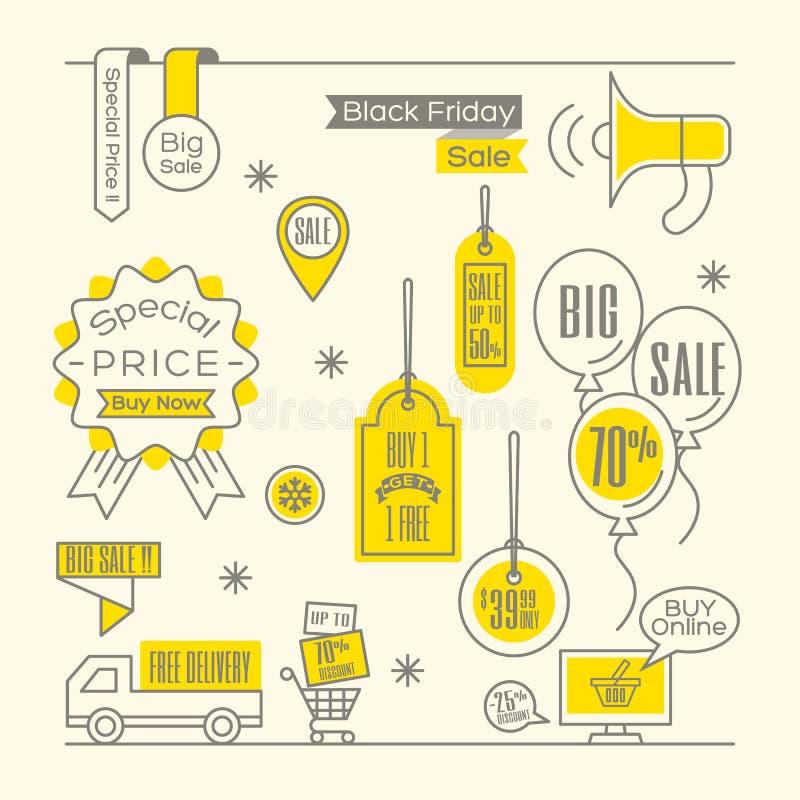 Sprzedaży etykietek etykietki online zakupy ilustracji