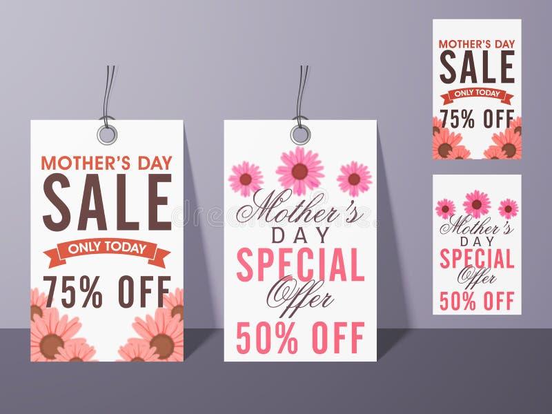 Sprzedaży etykietki dla Szczęśliwego matka dnia świętowania ilustracja wektor