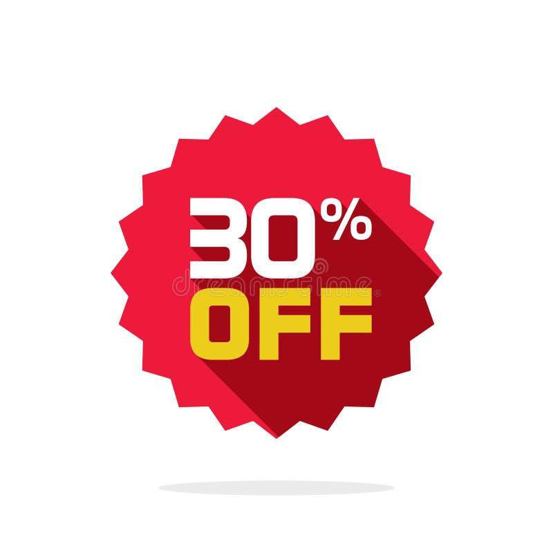 Sprzedaży etykietki odznaki wektorowy szablon, 30 procentów z sprzedaży etykietki symbolu, 30 dyskontowa promocyjna płaska ikona  royalty ilustracja
