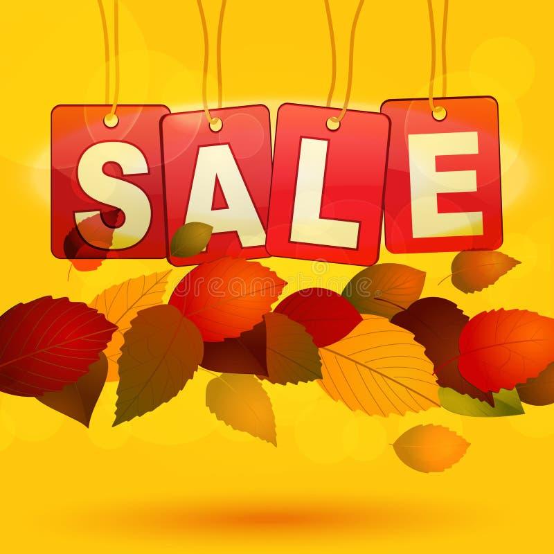 Sprzedaży etykietki z jesień liśćmi royalty ilustracja