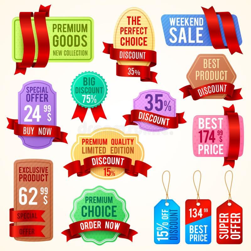 Sprzedaży i obniżonej ceny etykietki, tasiemkowi sztandary z promo tekstem Promocyjny odznaka wektoru set ilustracja wektor