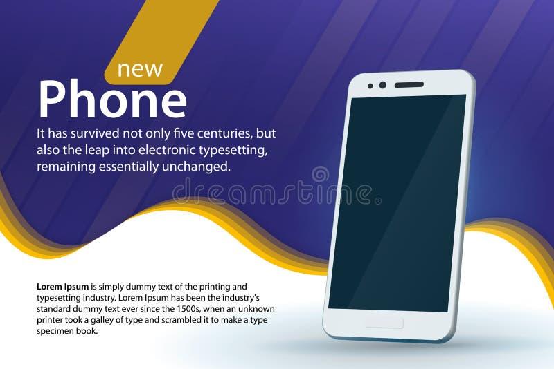 Sprzedaży i rabatów sztandaru projekt Biały nowożytny smartphone na błękitnym tle Nowożytny tło z wyginającym się kolorem i gradi ilustracji