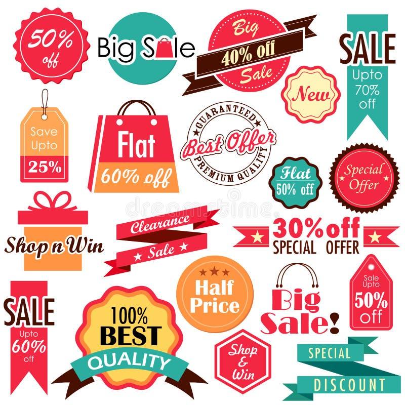 Sprzedaży i rabata etykietki royalty ilustracja