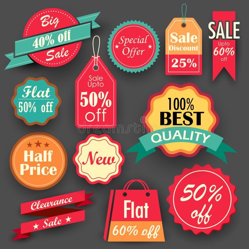 Sprzedaży i rabata etykietki ilustracji