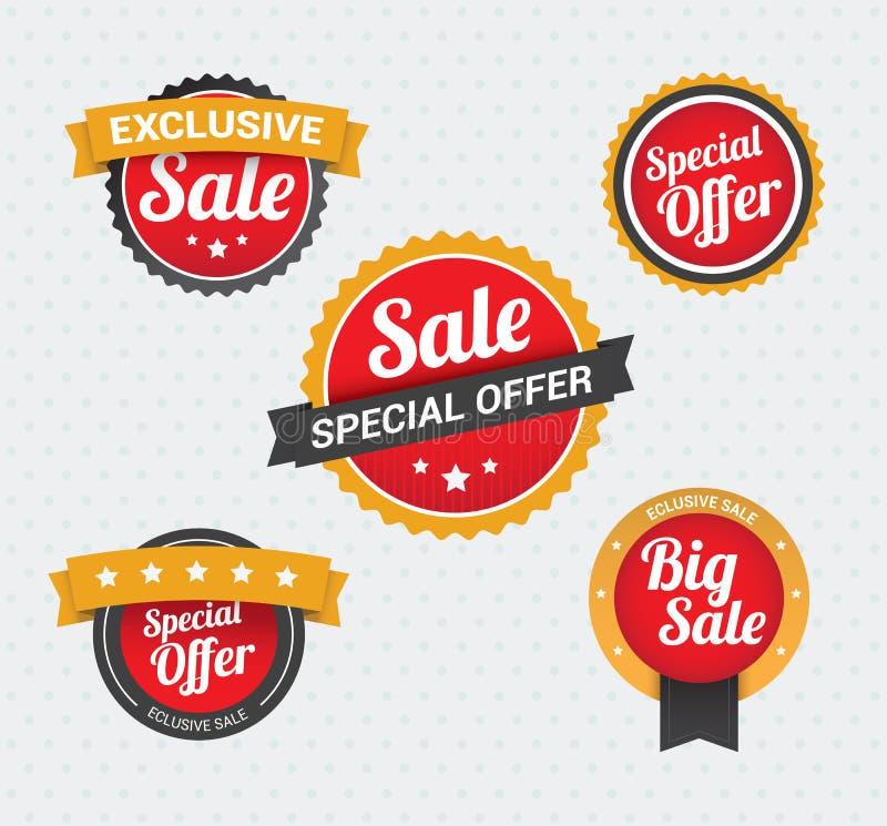 Sprzedaży i Specjalnej oferty odznaki ilustracji