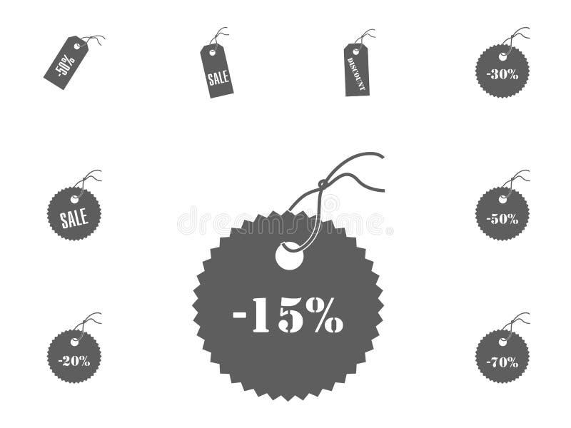 15 sprzedaży ikona Sprzedaży i rabata wektorowe ilustracyjne ikony ustawiać zdjęcie stock
