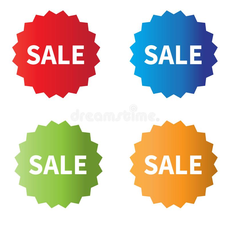 Sprzedaży ikony na białym tle ustawia sprzedaży etykietek znaka royalty ilustracja