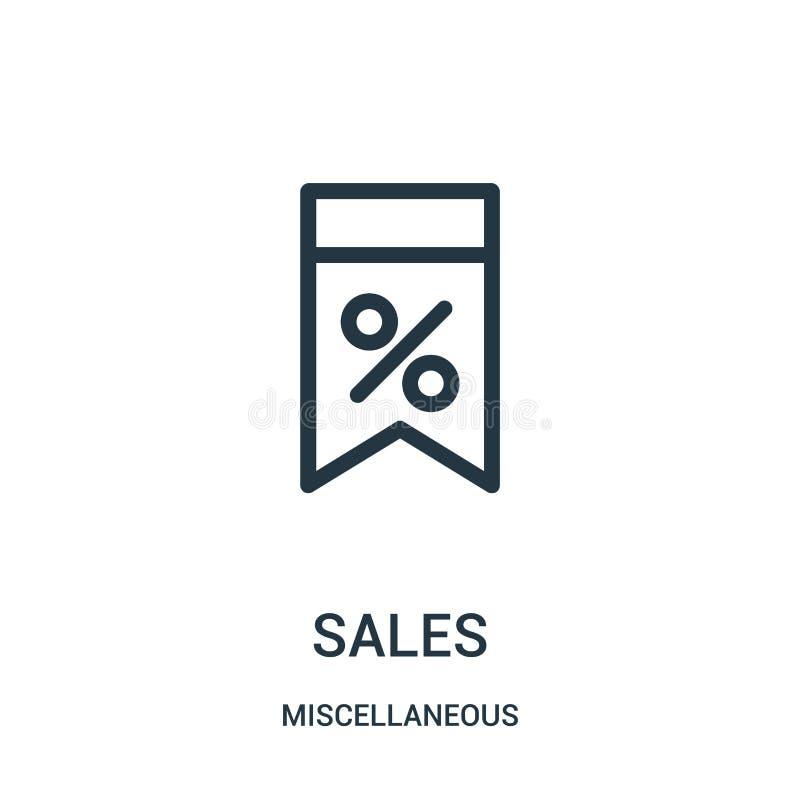 sprzedaży ikony wektor od różnej kolekcji Cienka kreskowa sprzedaż konturu ikony wektoru ilustracja Liniowy symbol dla używa na s royalty ilustracja