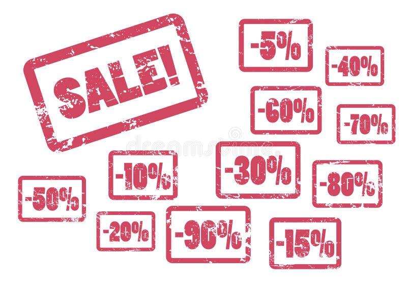 Sprzedaży inskrypcja z dyskontowym procentem Rewolucjonistka obramiająca pieczątka dla sklepowej sprzedaży ilustracji