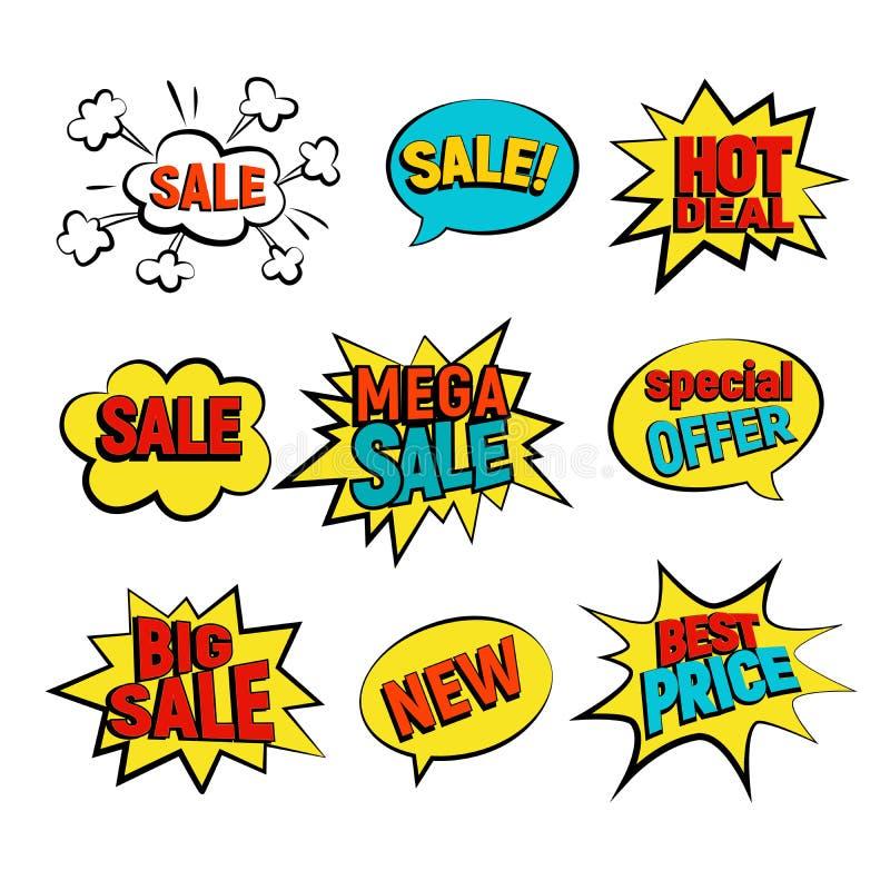 Sprzedaży kreskówki wektoru set ilustracja wektor