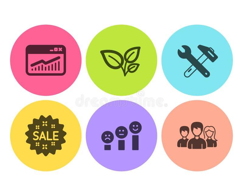 Sprzedaży, liści i strony internetowej statystyk ikony ustawiać, Zadowolenie klienta, Spanner narzędzie i praca zespołowa znaki,  ilustracja wektor