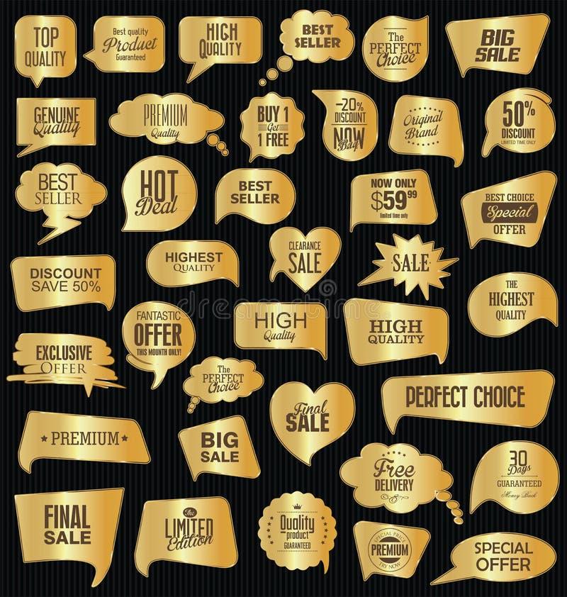 Sprzedaży mowa gulgocze na czarnej tło kolekci ilustracja wektor