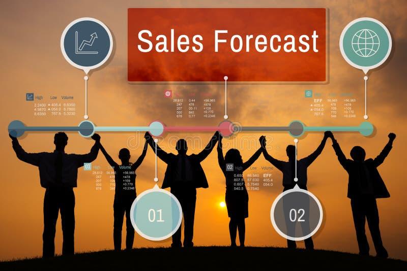 Sprzedaży prognozy strategii biznesu Planistyczny pojęcie zdjęcia royalty free