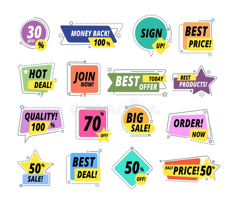 Sprzedaży promo odznaki Gwarancji etykietki Promo majcheru wyłącznej premii wyceny najlepszy etykietka Sprzedawca oferty sprzedaż ilustracji