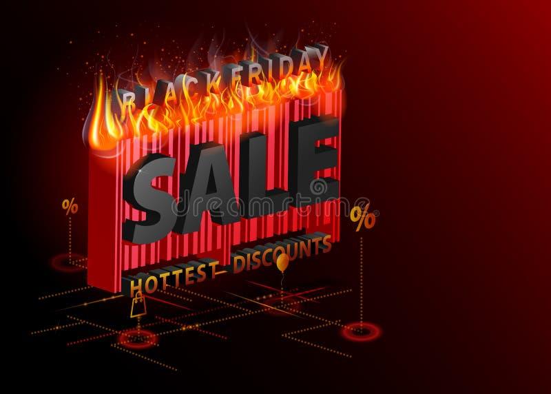 Sprzedaży reklamowa inskrypcja z ogieniem Black Friday isometric sztandar Bardzo Gorący pojęcie Wektoru akcyjny szablon dla twój royalty ilustracja
