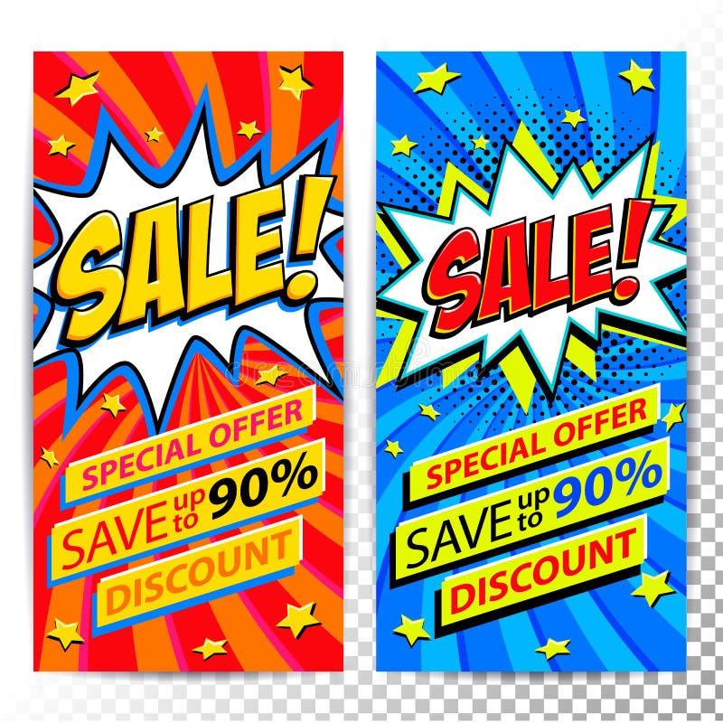 Sprzedaży sieci sztandary Set wystrzał sztuki sprzedaży rabata promoci komiczni sztandary duży tło sprzedaż Dekoracyjni tła z ilustracja wektor