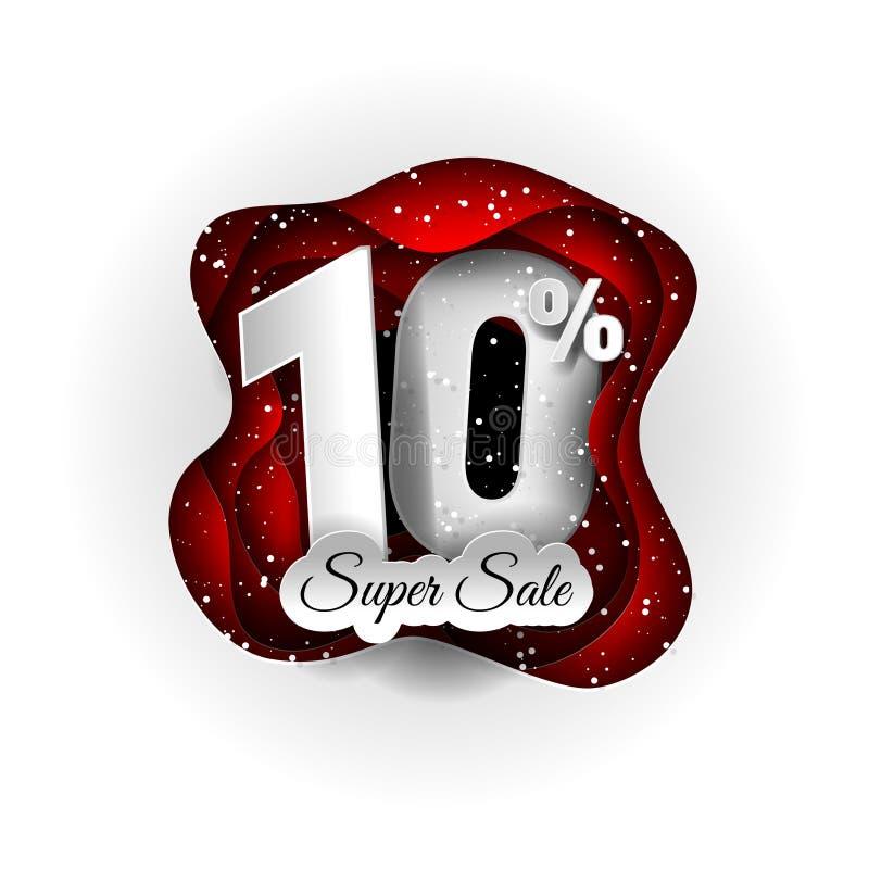 Sprzedaży 10% sztandaru oryginalny projekt biały, czerwień i śnieg Papierowy sztuki rzemiosła styl ilustracji