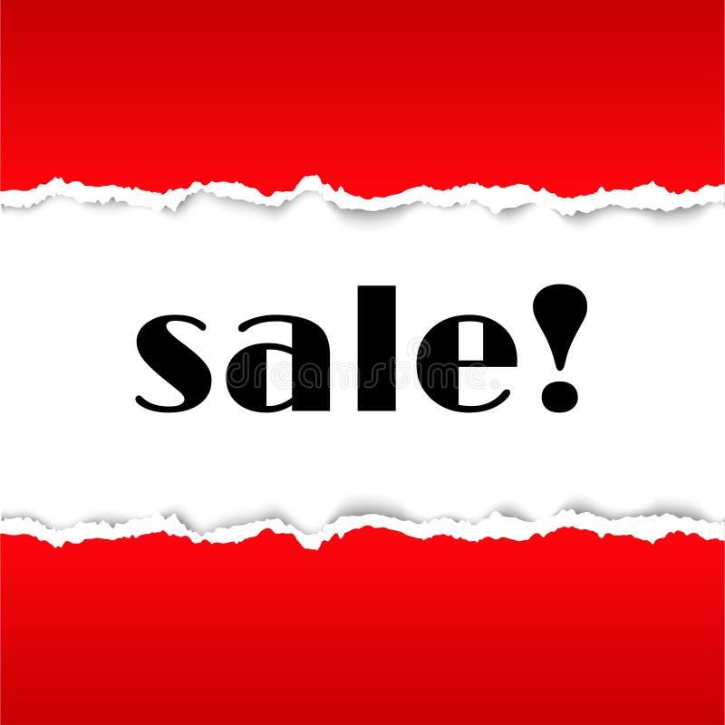 Sprzedaży tło z czerwień drzejącą papierową teksturą obraz stock