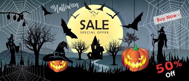 Sprzedaży Wakacyjnego przyjęcia sztandaru zakupy Halloweenowa karta ilustracji