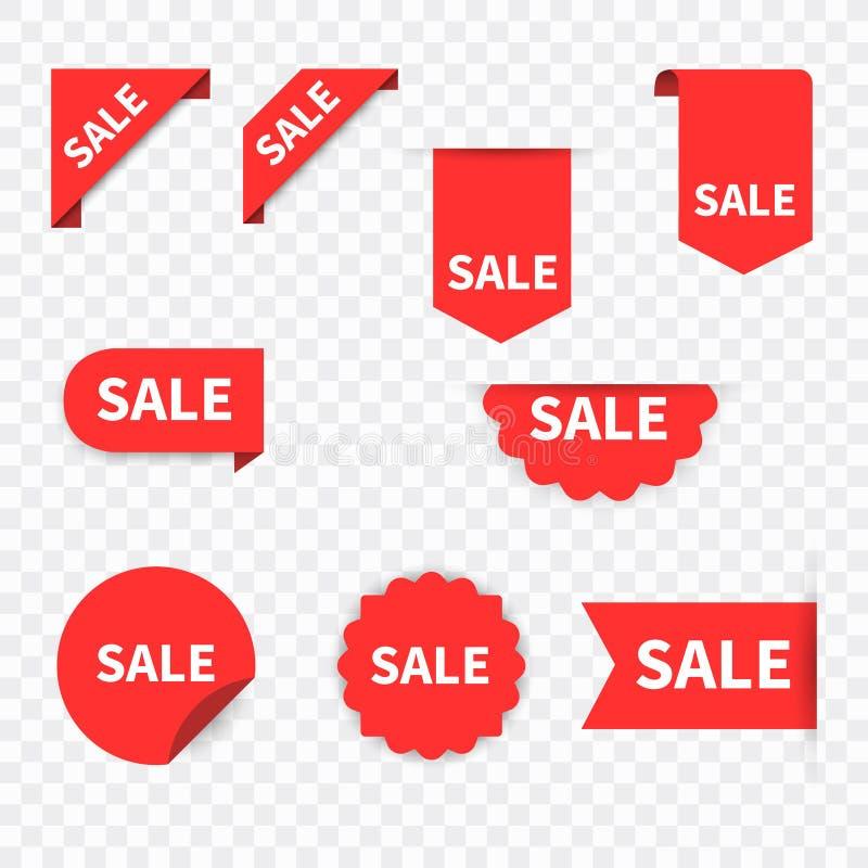 Sprzeda?y etykietki kolekci set akcesoria mody sprzeda?y etykietki Dyskontowi czerwoni faborki, sztandary i ikony, Robi? zakupy e royalty ilustracja