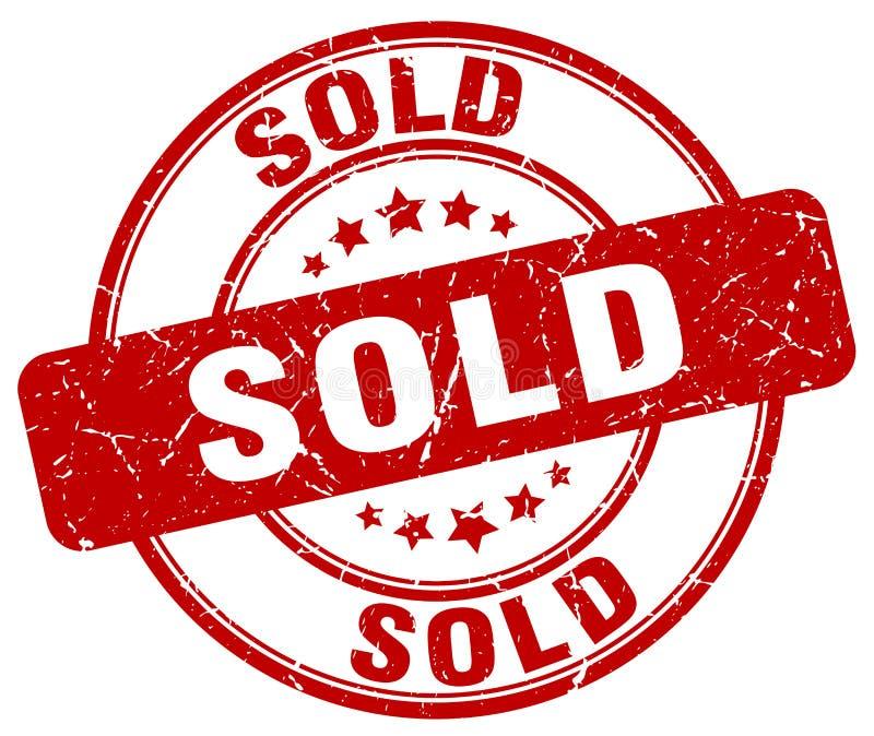 Sprzedający czerwonego grunge rocznika round znaczek ilustracji