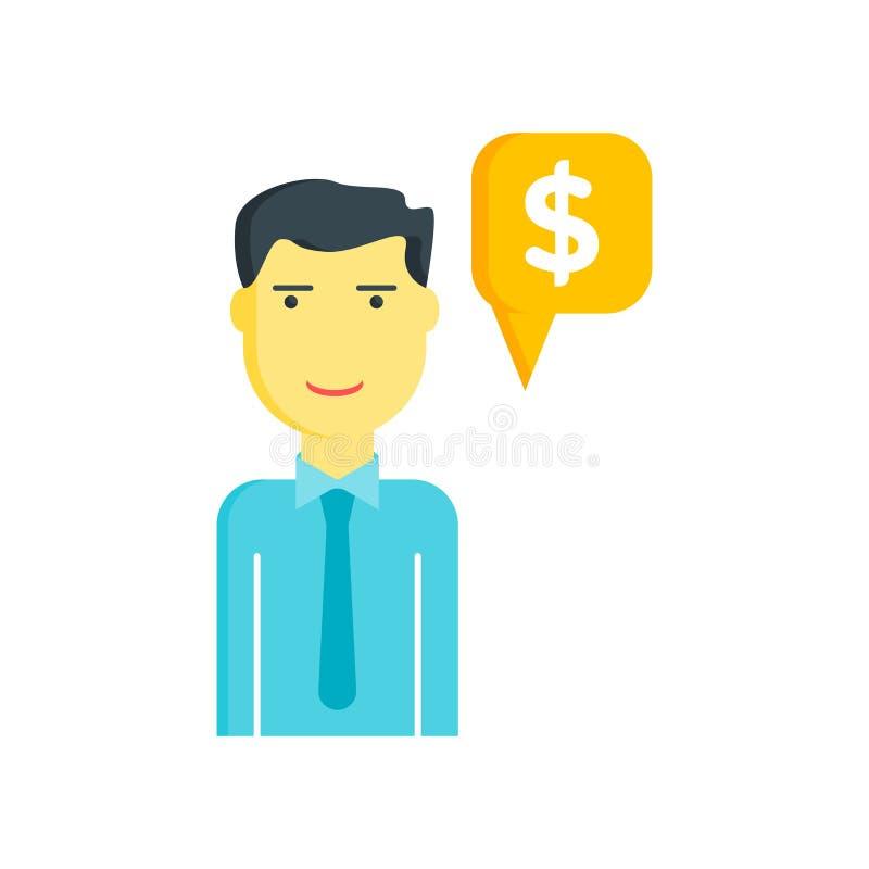 Sprzedawca ikona odizolowywająca na białym tle ilustracji