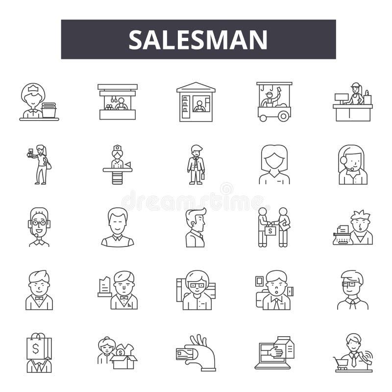 Sprzedawca kreskowe ikony, znaki, wektoru set, liniowy pojęcie, kontur ilustracja royalty ilustracja